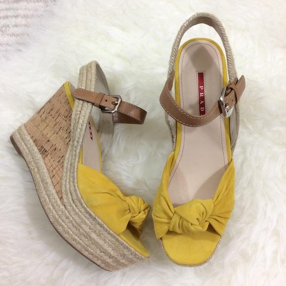 071a35773d9 Prada Espadrilles Wedges Sandals Yellow Tan. M 5a8cb7dc84b5ce9fcf0daa04